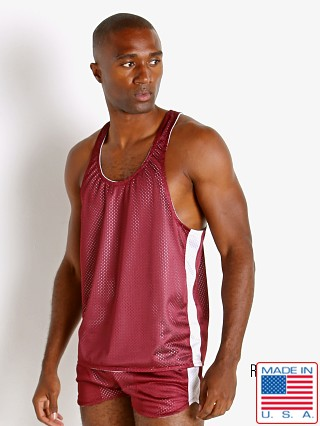 Model in burgundy/white LASC Reversible Athletic Mesh Tank Top