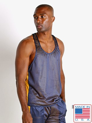 Model in navy/yellow LASC Reversible Athletic Mesh Tank Top