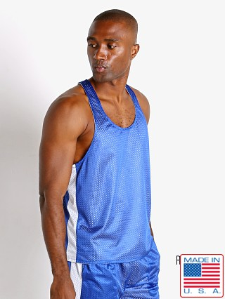 Model in royal/white LASC Reversible Athletic Mesh Tank Top