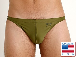 Model in army olive LASC Super Low Rise Solid Swim Brief