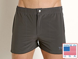 Model in charcoal LASC Malibu Swim Shorts