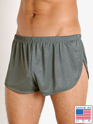 Model in army LASC Matte Jersey Fly Away Shorts