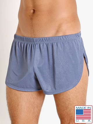 Model in denim LASC Matte Jersey Fly Away Shorts