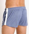 LASC Matte Jersey Snap Shorts Denim, view 4
