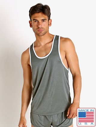 Model in army LASC Matte Jersey Tank Top