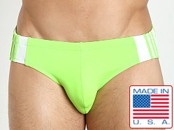 Sauvage Freestyle Nylon Lycra Racing Brief Lime/White