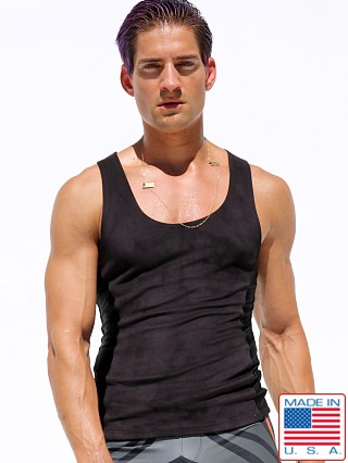 Model in black Rufskin Void Ultra Suede Tank Top