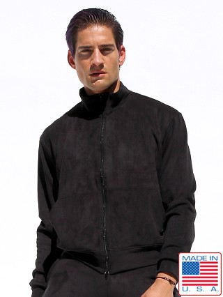 Model in black Rufskin Survet Ultra Suede Track Jacket