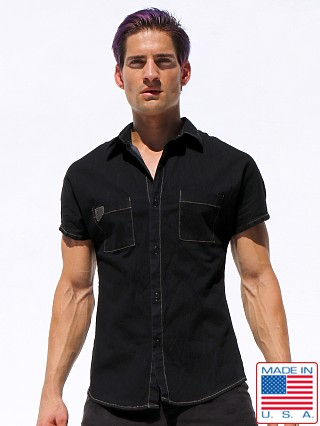 Rufskin Stud Stretch Denim Kimono Shirt Black