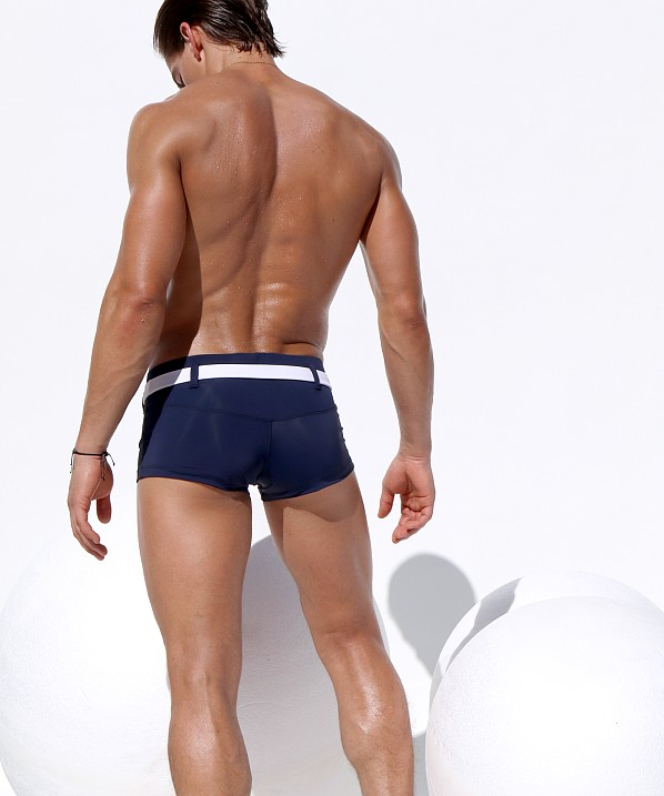 61d8228f49 Rufskin Pacifico Belted Square Cut Swim Trunk Navy/White ...