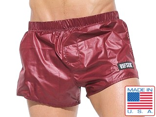 Rufskin Flip Wet Look Nylon Sport Shorts Burgundy