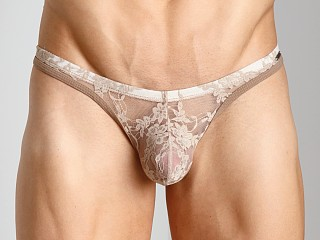 Model in nude Tulio Lace Power Pouch Thong