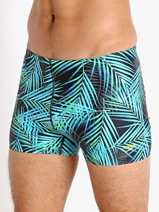 Model in aruba blue Speedo Throwing Shade Square Leg Swim Trunk