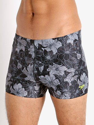 Model in anthracite Speedo Fancy Floral Square Leg Swim Trunk