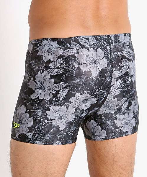 Speedo Fancy Floral Square Leg Swim Trunk Anthracite