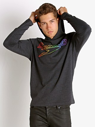 Model in black Speedo Rainbow Pride Long Sleeve Hoodie