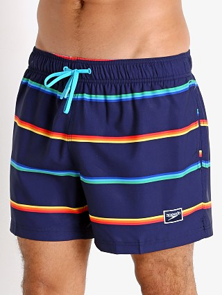 Model in peacoat Speedo Quad Stripe Neon Volley Swim Trunk