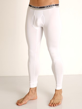 Model in white 2xist Speed Dri Sterling Long Underwear
