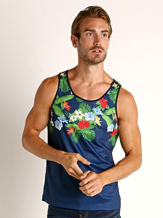 Model in navy/multi St33le Printed Stretch Jersey Tank Top Tropic Floral