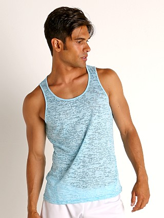 Model in teal St33le Burnout Jersey Tank Top