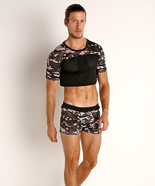 Cell Block 13 Foxhole Camo Mesh Crop Top Grey