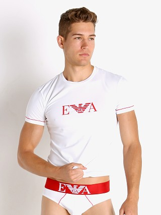 Model in white Emporio Armani Iconic Waistband T-Shirt
