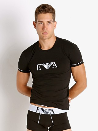 Model in black Emporio Armani Iconic Waistband T-Shirt