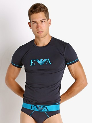 Model in marine Emporio Armani Iconic Waistband T-Shirt