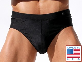 Model in black Rufskin El Camino Mesh Yoke Swim Brief