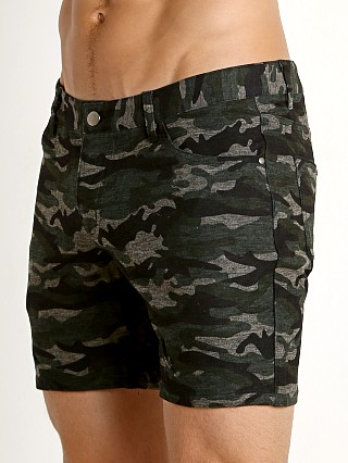 St33le Knit Jeans Shorts Green Camo