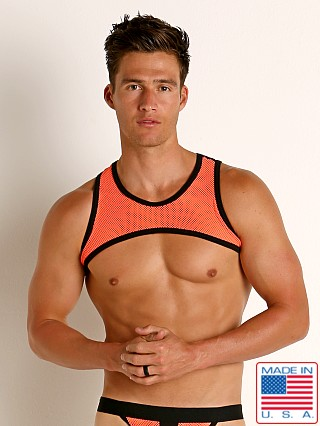 Model in orange/black Go Softwear Hard Core XXX Mesh Harness