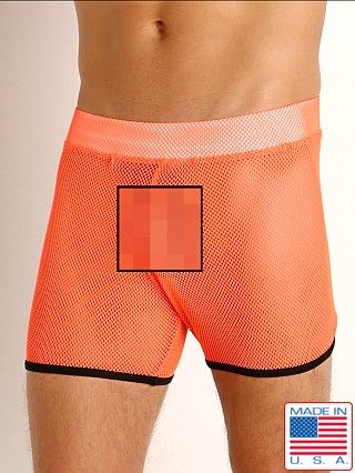 Model in orange/black Go Softwear Hard Core XXX Mesh Short