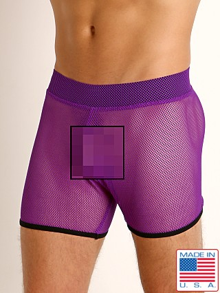 Model in purple/black Go Softwear Hard Core XXX Mesh Short