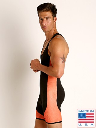 Model in orange/black Go Softwear Hard Core XXX Mesh Singlet