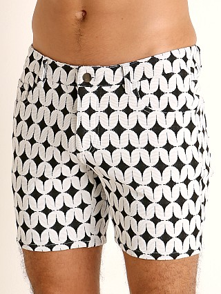 St33le Jacquard Knit Jeans Shorts Black/White Star Swirl