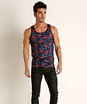 St33le Printed Stretch Mesh Tank Top Flamingos, view 1
