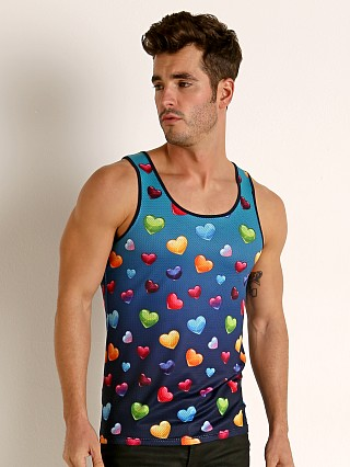 Model in cyan / rainbow St33le Printed Stretch Mesh Tank Top Gradient Cyan Gloss Hearts