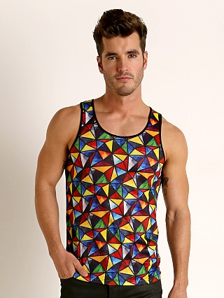 Model in multi / rainbow St33le Printed Stretch Mesh Tank Top Rainbow Triangles