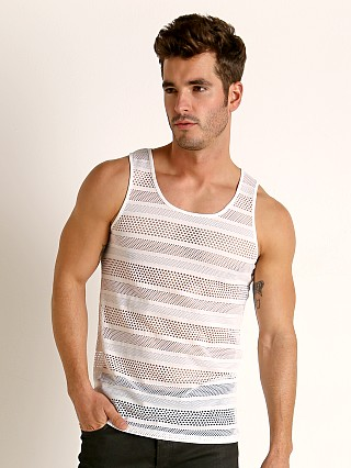 Model in white St33le Stripe Stretch Eyelet Tank Top