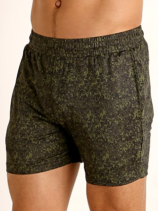Model in olive/army hex camo St33le Printed Stretch Mesh Performance Shorts Olive/Army Hex Ca