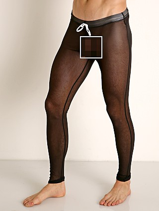 Model in black McKillop Sleek Seduce Mesh Lounge Tights