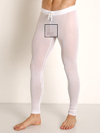 Model in white McKillop Sleek Seduce Mesh Lounge Tights