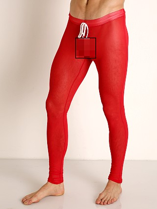 Model in red McKillop Sleek Seduce Mesh Lounge Tights