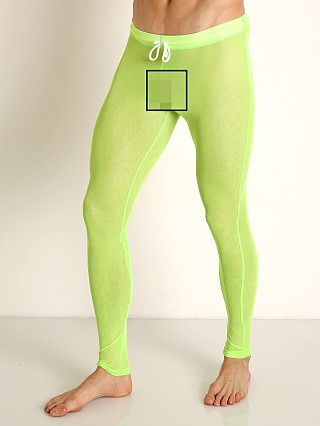 Model in lime McKillop Sleek Seduce Mesh Lounge Tights