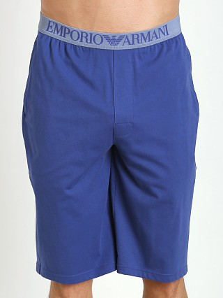 Model in blue ink Emporio Armani 100% Cotton Bermuda Shorts