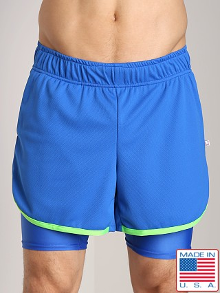Model in royal/neon lime American Jock Competition Workout Short