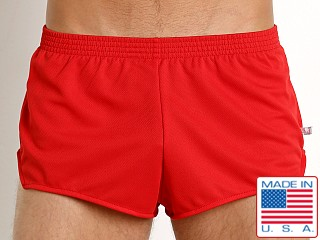 Model in red American Jock Sprint Running Short