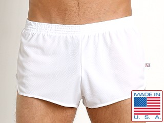 Model in white American Jock Sprint Running Short