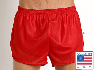 Model in red American Jock Sprint Sheer Trainer Short
