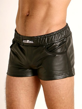 "Model in black STUD Calvex PVC ""Rubber"" Fetish Short"